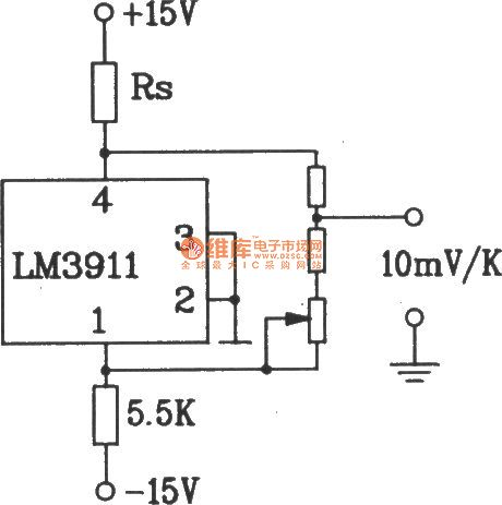 Temperature overheat detection alarm circuit composed of LM3911 monolithic temperature control integrated circuit