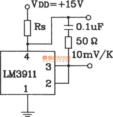 Capacitive load temperature measurement circuit composed of LM3911 monolithic temperature control integrated circuit