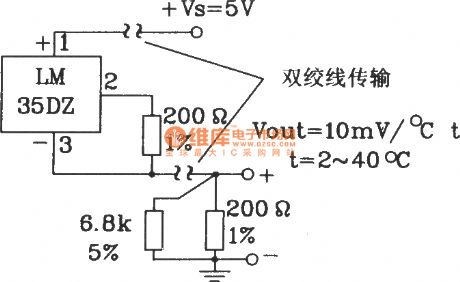 Total positive supply long-distance transmission circuit composed of LM35DZ celsius temperature sensor