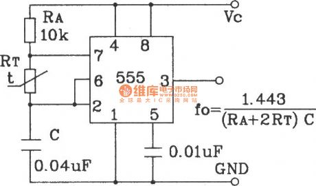 Temperature frequency conversion circuit composed of 555 and precision temperature sensor