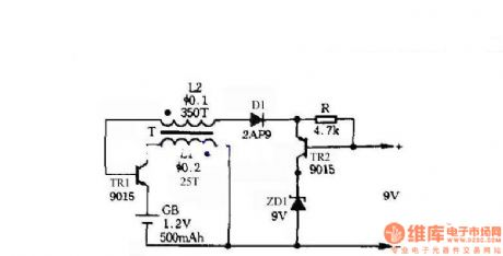 Self-control digital inverter power supply circuit diagram:1.2V rising to 9V