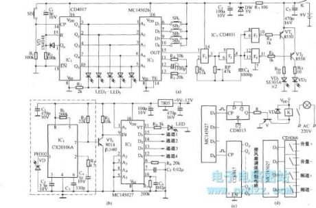 Five way four-function infrared remote control circuit diagram