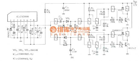 Single-button dual-channel infrared remote control circuit diagram