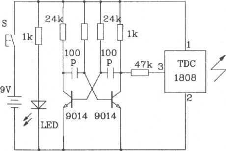 Single and multi-channel remote control transmitter and receiver circuit composed of TDC1808/1809 RF