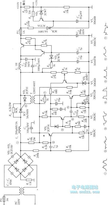 Controlled silicon switching stabilized voltage supply