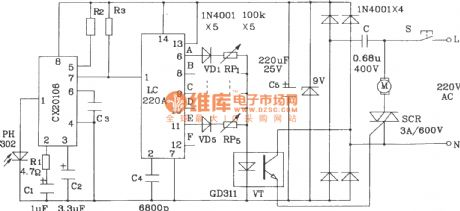 Infrared remote control motor speed regulation transmitter and receiver circuit composed of LC219/220A