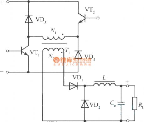 The clamping single-end normal shock converter circuit with two transistors and diode