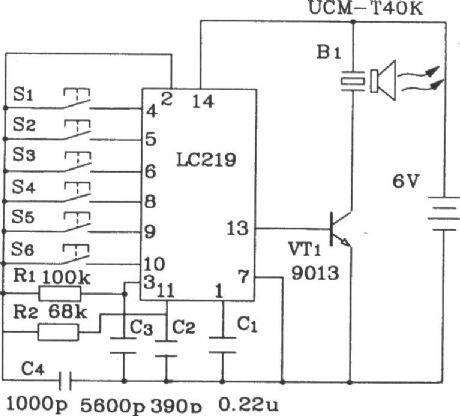 Ultrasonic 6-road remote control receiver application circuit composed of LC219/220A