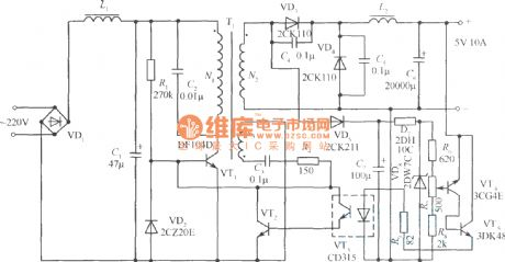 Single-ended Foward Transforming Switching Regulated Power Supply Application Circuit