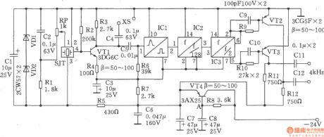 1024kHz and 4kHz square-wave output circuit