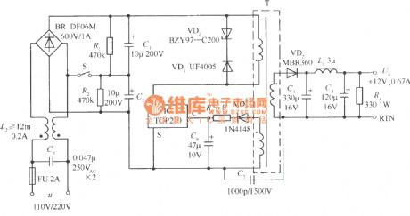 Switching regulated power supply using 110V (doubling voltage)/220V AC voltage input