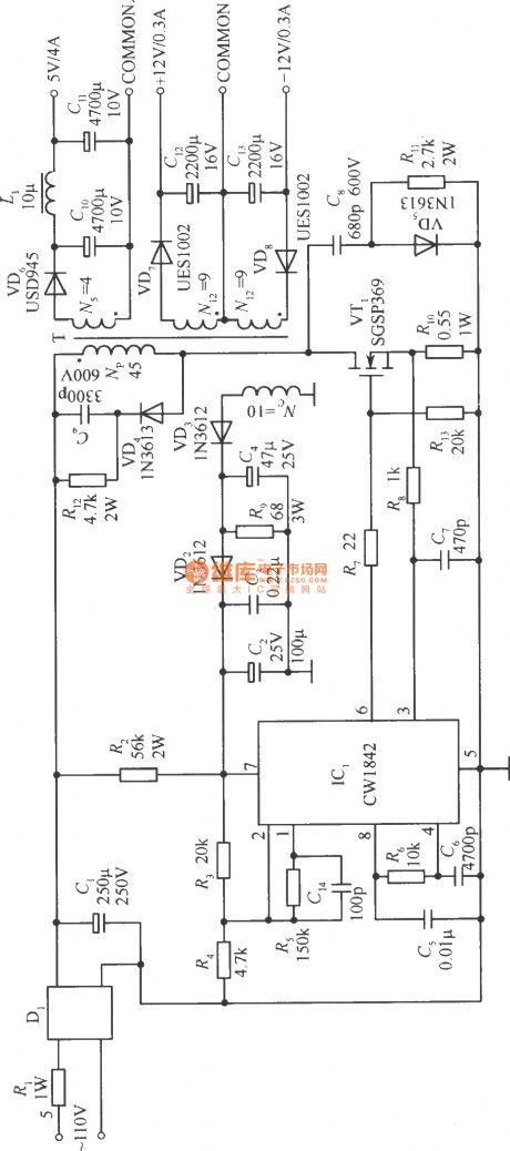 Voltage Stabilizer Circuit Composed Of The Cw1842 Controlcircuit