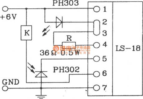 Typical application circuit diagram of LS-18 infrared sensor remote control switch module