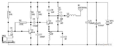 Single-tube radio transmitter circuit diagram