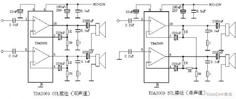 TDA2009 mono and stereo audio power amplifier circuit diagram