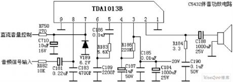 Audio amplifier circuit diagram composed of TDA1013