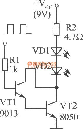 The driver circuit diagram of two infrared light-emitting diodes