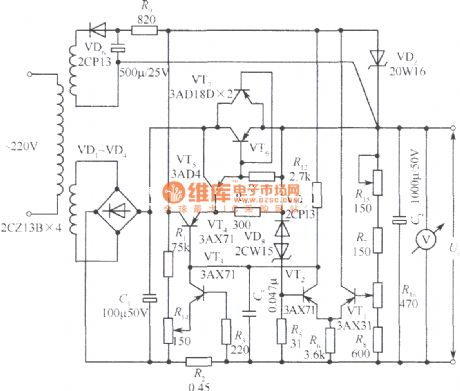 24V regulated power supply circuit with current limiting protection