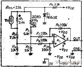 Simplified bridge type thermosensitive temperature measurement circuit