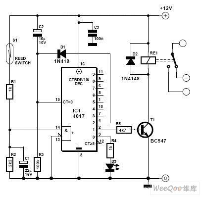 Mag ic reed dryreed proximity switch sensor circuit diagram using CD4017 on home wiring circuit