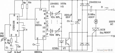 Infrared remote control 5-speed motor speed controller circuit diagram