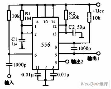 sequential timer circuit composed of 556