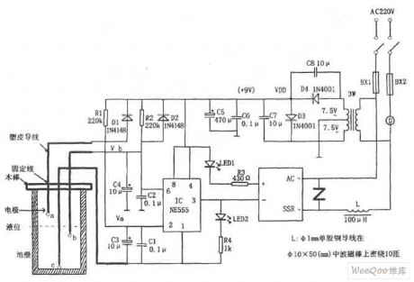 the agricultural liquid level automatic control circuit consisting of NE555