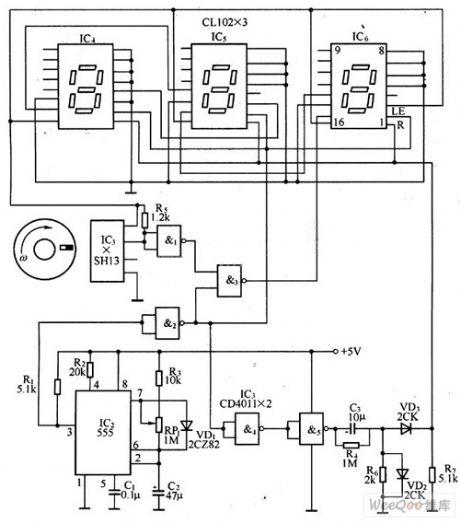 digital tachometer circuit based on the magnetic sensor