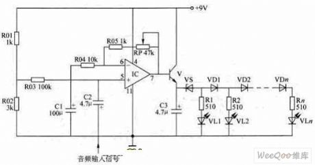 LED Power Level Indicator Circuit of LM324 Design