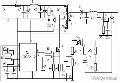 Typical Application Circuit of UC3842 Overvoltage and Overcurrent Protection