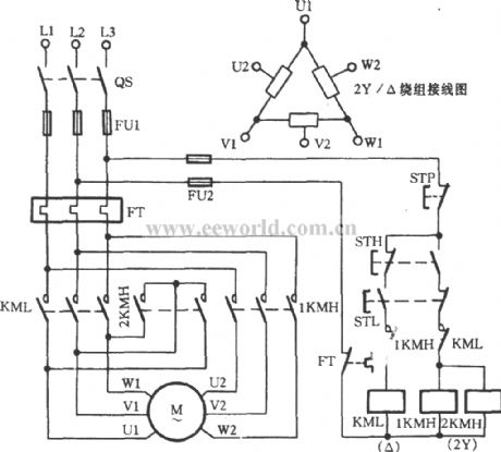 Two speed 3 phase motor winding diagram for Three phase motor speed control