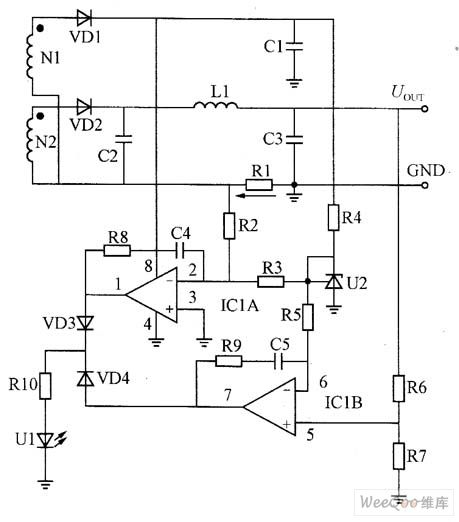 control of constant voltage and constant current circuit composed of current amplifier