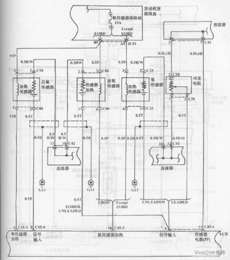 Fuel Injection System Circuit of Hyundai Sonata with V4 Cylinder Engine (5)