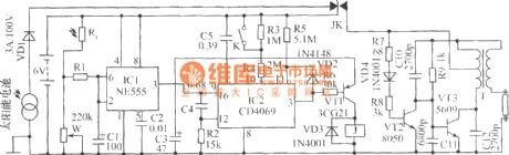 The auto control energy saving lamp circuit composed of solar battery