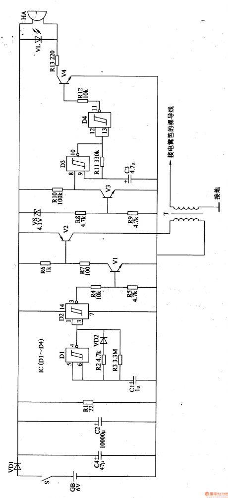 electric fence control circuit 4 - control circuit - circuit diagram