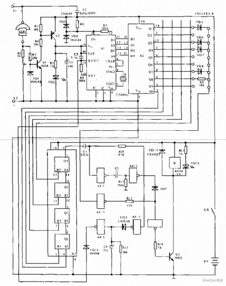Telephone electronic coded lock circuit