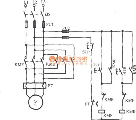 Three_phase_motor_contactor_auxiliary_contact_interlock_switching_circuit