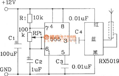 Wireless remote control transmitting and receiving circuit composed of the RX5019/5020