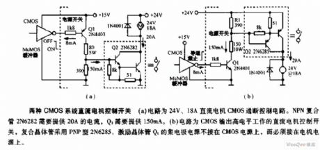 Two On-off Circuits controlled by CMOS System Direct Motor