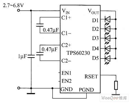 The application circuit of driving 5 white light LEDs