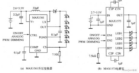 The booster and electric charge pump converter drive LED application circuit
