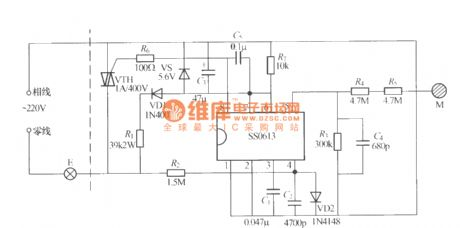 SS0613 Touching stepless dimmer circuit