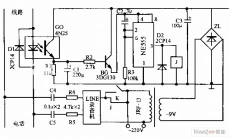 Telephone Automatic Recording Control Device Circuit Diagram