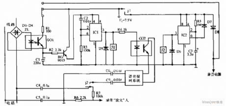 Real-time Telephone Automatic Recording Device Circuit Diagram