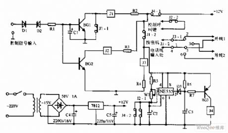 Wireless telephone adaptor circuit diagram
