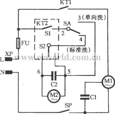 spring timer ordinary double-tube washing machine circuit