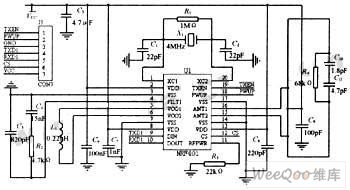 Applied circuit diagram of nrf401 wireles receiving and dispatching chip