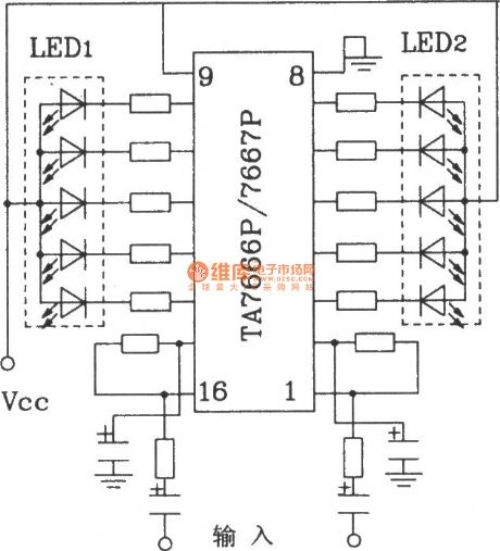 Two 5:00 LED display driver circuits with HA7666P/TA7667P