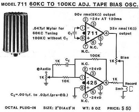 60 to 100kHz Adj. Tape Bias Oscillator  -