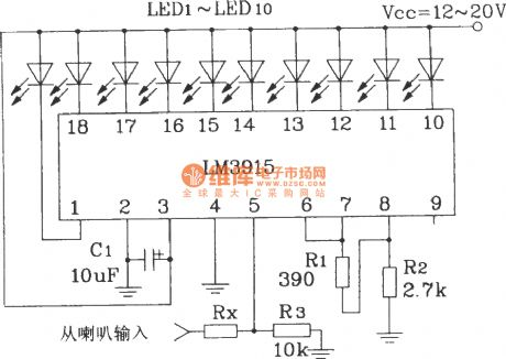 A simple audio power meter circuit using LM3915